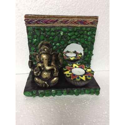 Green Stones Ganesha Tea Light  lord ganesha hand made festive tea lights for diwali hitchki dot in 0011