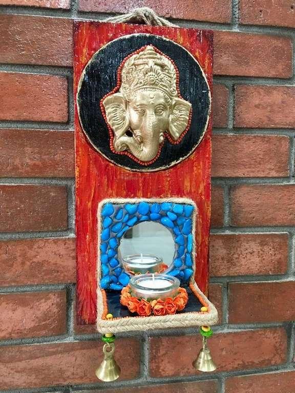 Ganesha wall mount mirror and stone Tea Light  lord ganesha hand made festive tea lights for diwali hitchki dot in 0013