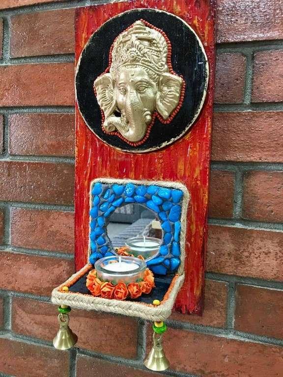 Ganesha wall mount mirror and stone Tea Light  lord ganesha hand made festive tea lights for diwali hitchki dot in 0014