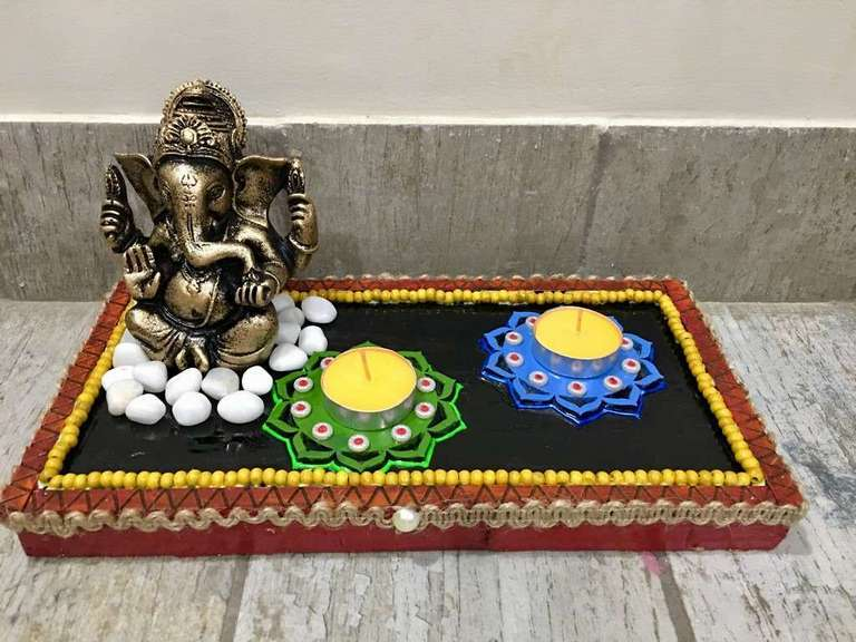 Ganesha Table Top Tea Light  lord ganesha hand made festive tea lights for diwali hitchki dot in 0015