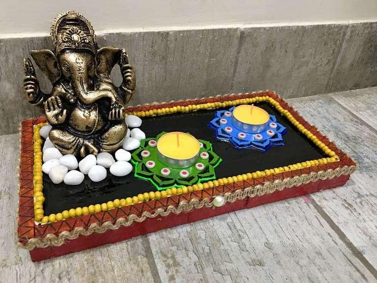 Ganesha Table Top Tea Light  lord ganesha hand made festive tea lights for diwali hitchki dot in 0016