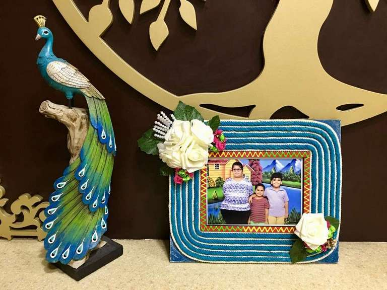 Stringy Flowery Wooden Photo Frame  photo frames hand made hitchki dot in personalized gifts 0018