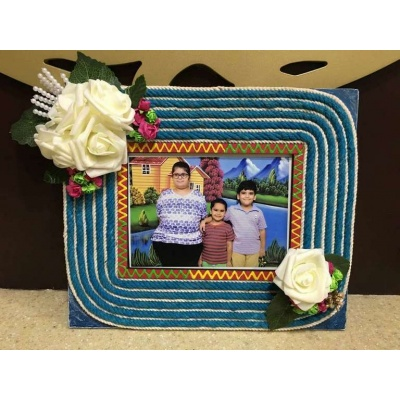 Stringy Flowery Wooden Photo Frame  photo frames hand made hitchki dot in personalized gifts 0019