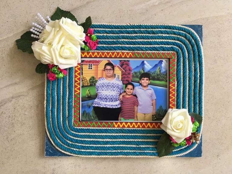 Stringy Flowery Wooden Photo Frame  photo frames hand made hitchki dot in personalized gifts 0020