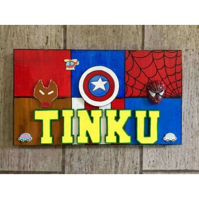 Superhero Nameplate for Kids  wooden crafts artwork house office door wall flat bungalow plaques hand made hitchki dot in personalized gifts 0001