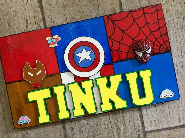 Superhero Nameplate for Kids  wooden crafts artwork house office door wall flat bungalow plaques hand made hitchki dot in personalized gifts 0002