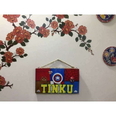 Superhero Nameplate for Kids  wooden crafts artwork house office door wall flat bungalow plaques hand made hitchki dot in personalized gifts 0003