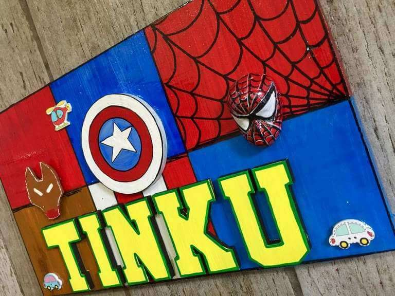 Superhero Nameplate for Kids  wooden crafts artwork house office door wall flat bungalow plaques hand made hitchki dot in personalized gifts 0004