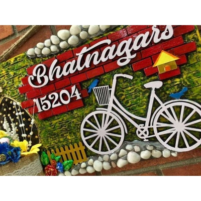 Bicycle in Garden Wooden Name Plate With House Number  wooden crafts artwork house office door wall flat bungalow plaques hand made hitchki dot in personalized gifts 0011
