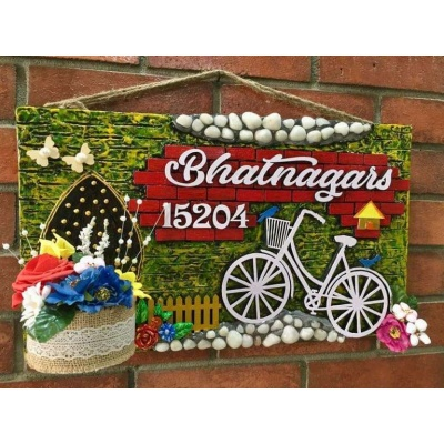 Bicycle in Garden Wooden Name Plate With House Number  wooden crafts artwork house office door wall flat bungalow plaques hand made hitchki dot in personalized gifts 0012