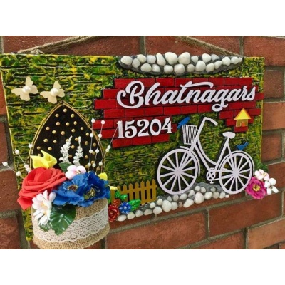 Bicycle in Garden Wooden Name Plate With House Number  wooden crafts artwork house office door wall flat bungalow plaques hand made hitchki dot in personalized gifts 0013