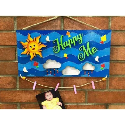 Happy Me Clip Photo Frame and Name Plate  wooden crafts artwork house office door wall flat bungalow plaques hand made hitchki dot in personalized gifts 0016