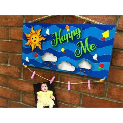 Happy Me Clip Photo Frame and Name Plate  wooden crafts artwork house office door wall flat bungalow plaques hand made hitchki dot in personalized gifts 0017