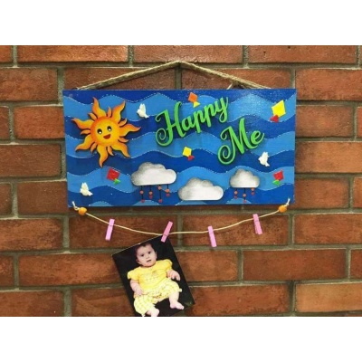 Happy Me Clip Photo Frame and Name Plate  wooden crafts artwork house office door wall flat bungalow plaques hand made hitchki dot in personalized gifts 0018
