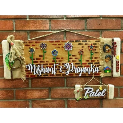 Flowery Wall wooden Name Plate  beautiful nameplate for home and office