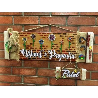 Flowery Wall wooden Name Plate  door nameplate