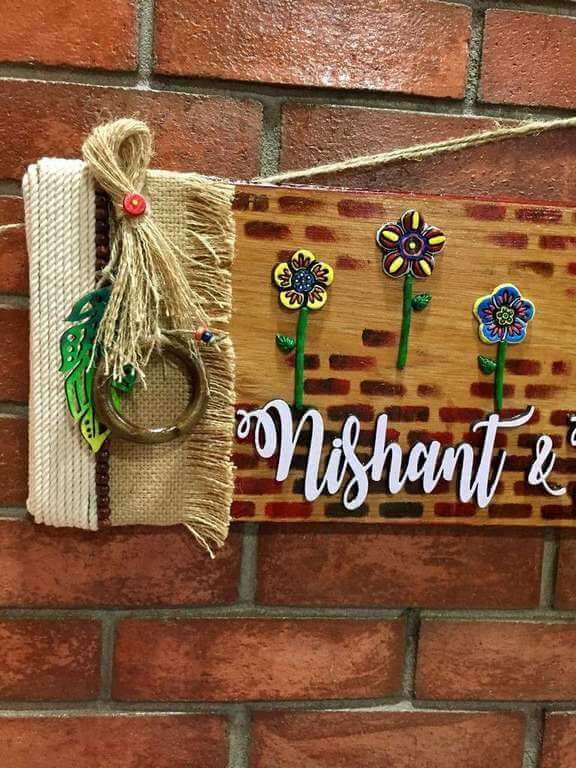 Flowery Wall wooden Name Plate  wooden crafts artwork house office door wall flat bungalow plaques hand made hitchki dot in personalized gifts 0021