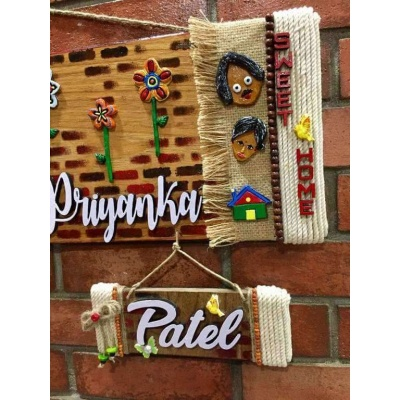 Flowery Wall wooden Name Plate  wooden crafts artwork house office door wall flat bungalow plaques hand made hitchki dot in personalized gifts 0022