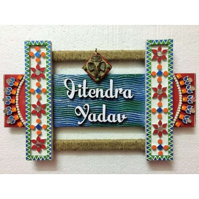 Lippan Work Wooden Name Plate  wooden name plates house office door wall flat bungalow plaques hand made hitchki dot in personalized gifts 0001