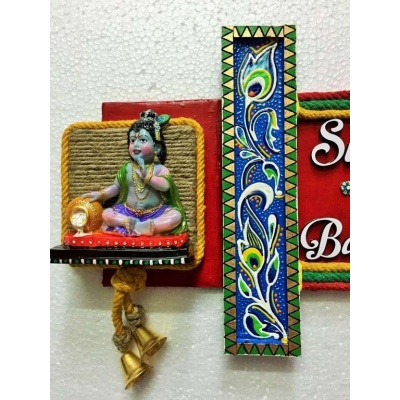 Krishna Ladduji Wooden Name Plate  wooden name plates house office door wall flat bungalow plaques hand made hitchki dot in personalized gifts 0004