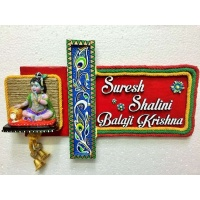 Krishna Ladduji Wooden Name Plate  wooden name plates house office door wall flat bungalow plaques hand made hitchki dot in personalized gifts 0005