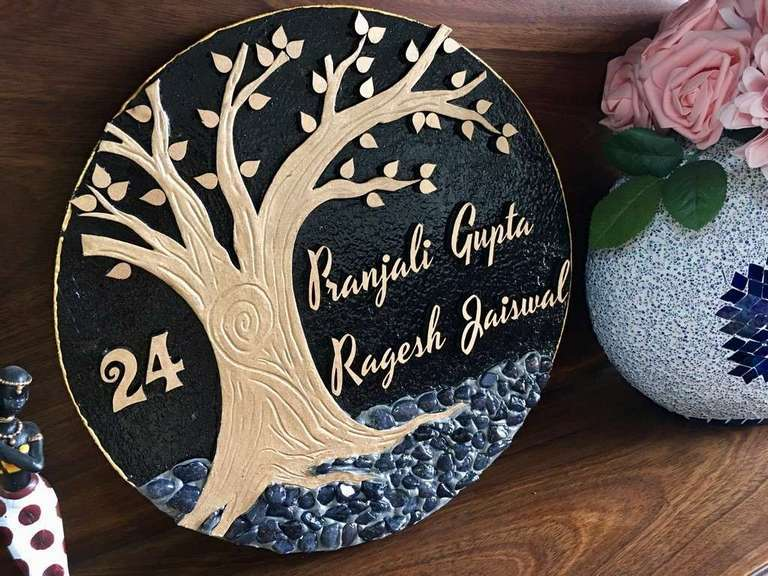 Golden Tree Wooden Name Plate  wooden name plates house office door wall flat bungalow plaques hand made hitchki dot in personalized gifts 0010
