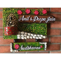 Buddha Green Wooden Name Plate  Wooden nameplate