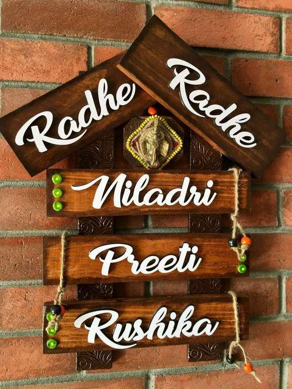 wooden name plates house office door wall flat bungalow plaques hand made hitchki dot in personalized gifts 0012