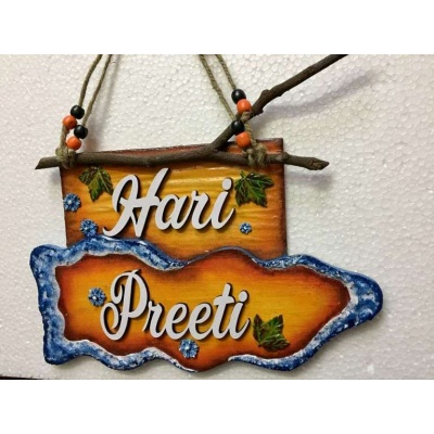 Wooden Twig Hanging Name Plate  wooden name plates house office door wall flat bungalow plaques hand made hitchki dot in personalized gifts 0014