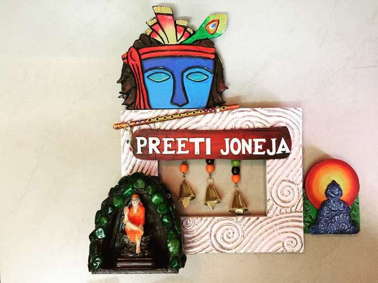 Sai Krishna Buddha Wooden Name Plate  wooden name plates house office door wall flat bungalow plaques hand made hitchki dot in personalized gifts 0015