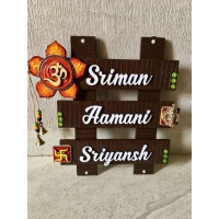 Flower and Om Wooden Name Plate  wooden name plates for house office door wall flat bungalow plaques