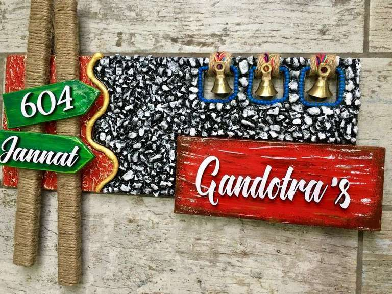Stones and Bells Wooden Name Plate  wooden name plates house office door wall flat bungalow plaques hand made hitchki dot in personalized gifts 0021