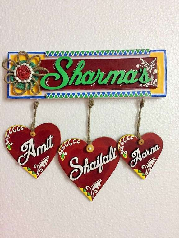Hanging Hearts Wooden Name Plate  wooden name plates house office door wall flat bungalow plaques hand made hitchki dot in personalized gifts 0025