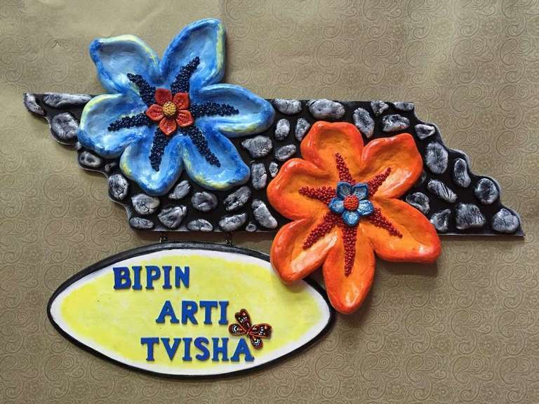Pebbles and Flowers Wooden Name Plate  wooden name plates house office door wall flat bungalow plaques hand made hitchki dot in personalized gifts 0029