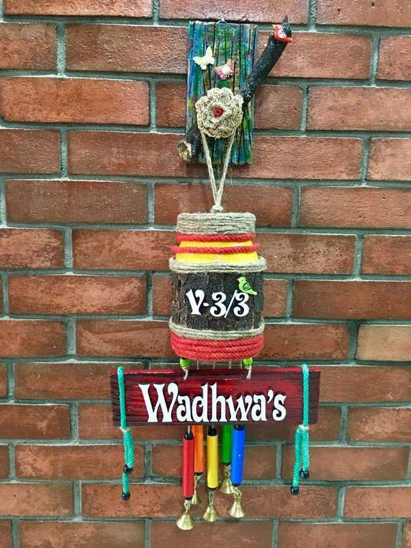 Glow Jar Wind Chime Name Plate  wooden name plates house office door wall flat bungalow plaques hand made hitchki dot in personalized gifts 0032
