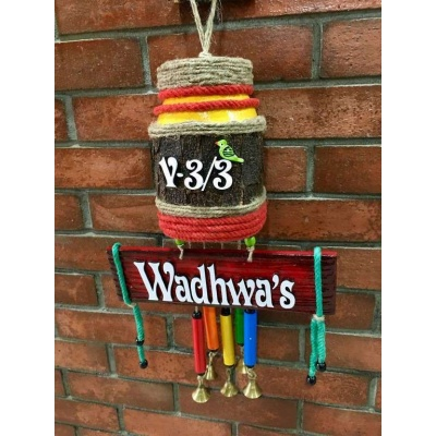 Glow Jar Wind Chime Name Plate  wooden name plates house office door wall flat bungalow plaques hand made hitchki dot in personalized gifts 0033