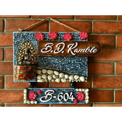 Beautiful Buddha Nameplate Personalized in Wood and Stones