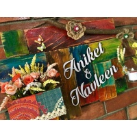 Ganesha and Pebbles Wooden Name Plate  wooden name plates house office door wall flat bungalow plaques hand made hitchki dot in personalized gifts 0043