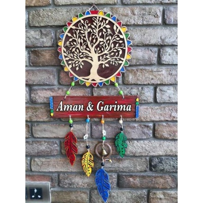 Tree Of Life Wooden Name Plate  wooden name plates house office door wall flat bungalow plaques hand made hitchki dot in personalized gifts 0054