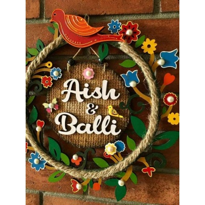 Circle Of Flowers Kids Name Plate  Handmade Wooden Customised Name Plates