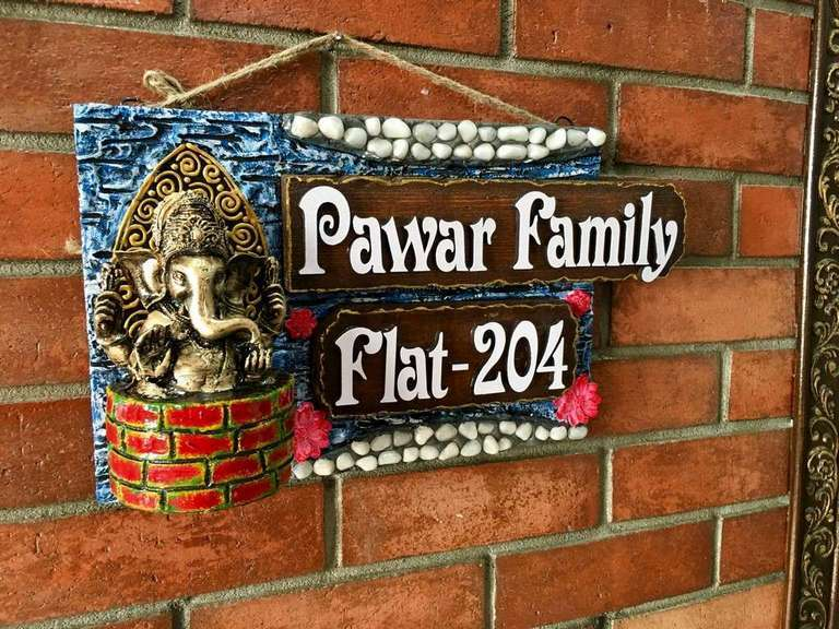 Ganesha Ethnic Wooden Name Plate  wooden name plates house office door wall flat bungalow plaques hand made hitchki dot in personalized gifts 0060