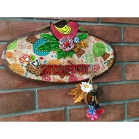Tweety on Flowers Kids Name Plate  wooden name plates house office door wall flat bungalow plaques hand made hitchki dot in personalized gifts 0063