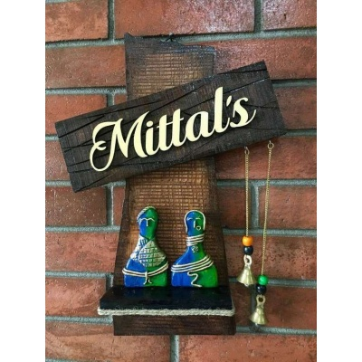 Couple Statue Wooden Name Plate  wooden name plates house office door wall flat bungalow plaques hand made hitchki dot in personalized gifts 0070