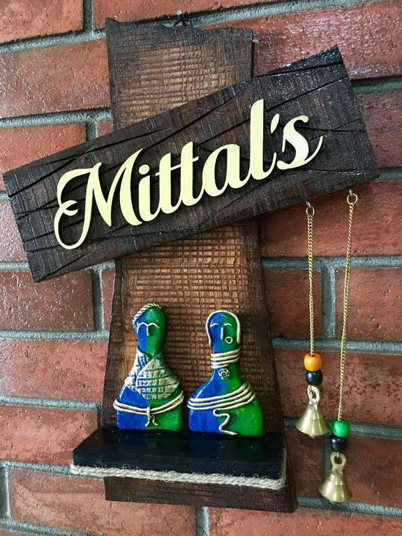 Couple Statue Wooden Name Plate  wooden name plates house office door wall flat bungalow plaques hand made hitchki dot in personalized gifts 0071