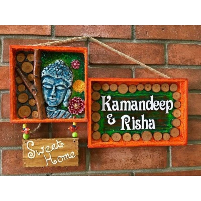 Buddha Mural Name Plate  wooden name plates house office door wall flat bungalow plaques hand made hitchki dot in personalized gifts 0072