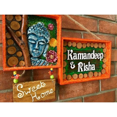 Buddha Mural Name Plate  wooden name plates house office door wall flat bungalow plaques hand made hitchki dot in personalized gifts 0073