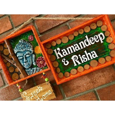Buddha Mural Name Plate  wooden name plates house office door wall flat bungalow plaques hand made hitchki dot in personalized gifts 0074