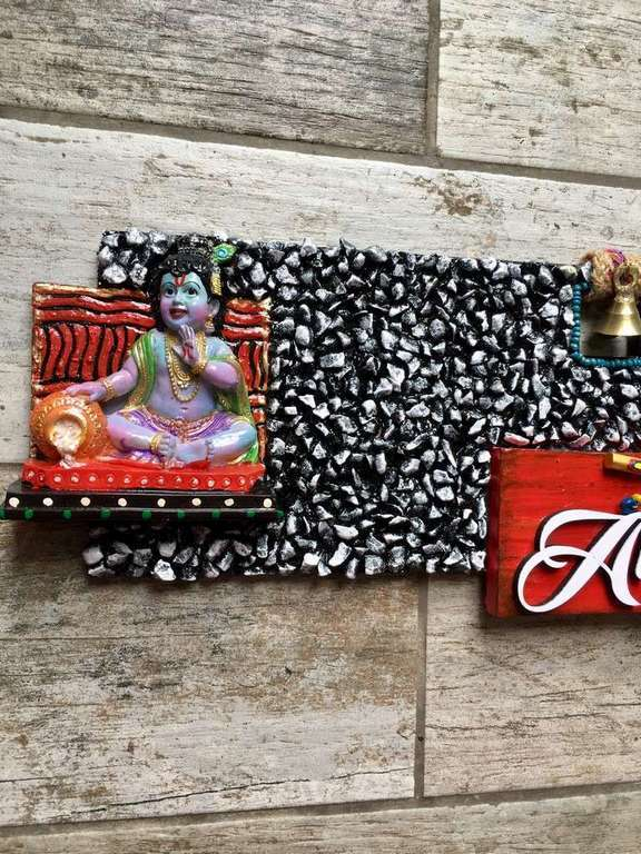 Mor Pankhi Krishna Wooden Name Plate  wooden name plates house office door wall flat bungalow plaques hand made hitchki dot in personalized gifts 0076