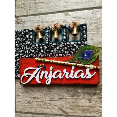 Mor Pankhi Krishna Wooden Name Plate  wooden name plates house office door wall flat bungalow plaques hand made hitchki dot in personalized gifts 0077