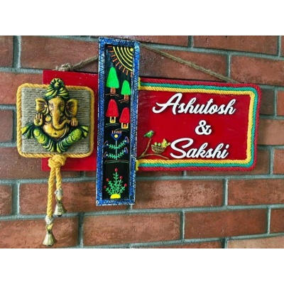Village Theme Wooden Name Plate  wooden name plates house office door wall flat bungalow plaques hand made hitchki dot in personalized gifts 0080